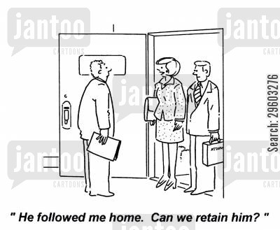 retaining cartoon humor: 'He followed me home. Can we retain him?'
