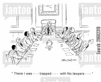 horror story cartoon humor: 'There I was... Trapped... With no lawyers...'