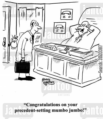 lawyer talk cartoon humor: Lawyer to fellow lawyer: 'Congratulations on your precedent-setting mumbo jumbo!'