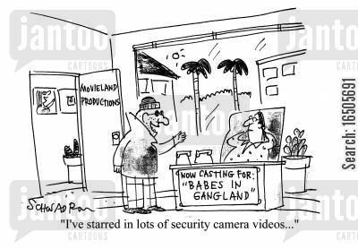 conartist cartoon humor: 'I've starred in lots of security camera videos...'