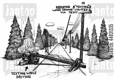 sms cartoon humor: Two cars trvelling in opposite directions have crashed into telephone poles. One was texting while driving the other was reporting him via text . .