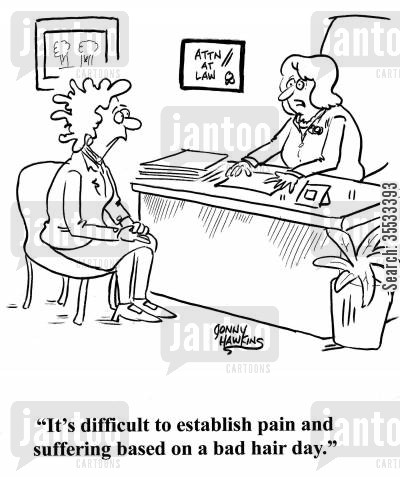 beauticians cartoon humor: Lawyer to bad hair lady: 'It's difficult to establish pain and suffering based on a bad hair day.'