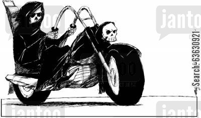bike gang cartoon humor: The not so easy rider...