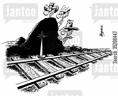 bandit cartoon humor: Bandits place giant spike on track to stop train