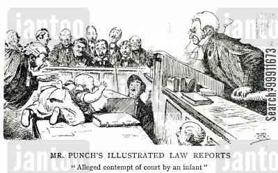 witnesses cartoon humor: A baby in court