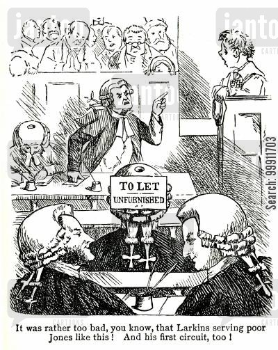 wig and gown cartoon humor: Barristers playing a joke
