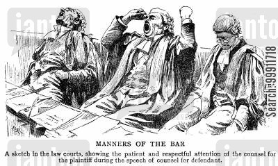 bar cartoon humor: Yawning barristers in court