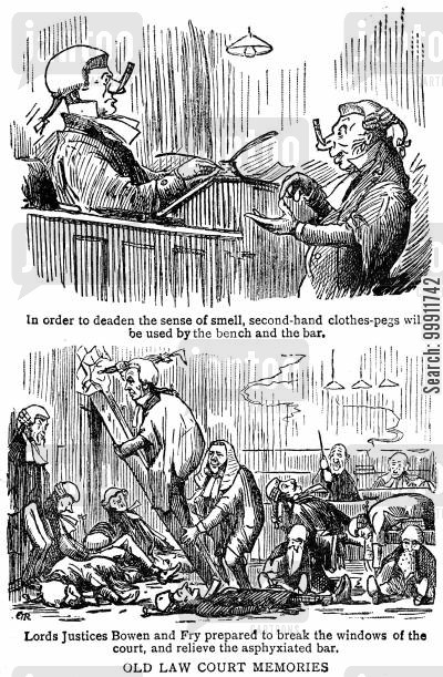 bar cartoon humor: Barristers wearing clothes pegs to overcome a bad smell