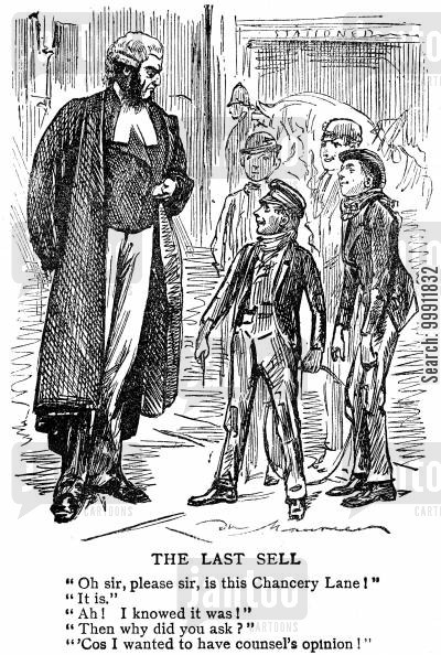 enquire cartoon humor: Boys asking a barrister for directions