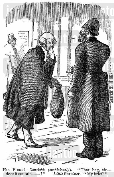 junior barrister cartoon humor: A barrister with his first brief