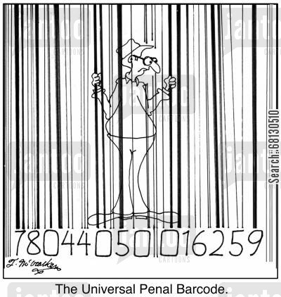 penal system cartoon humor: The Universal Penal Barcode.