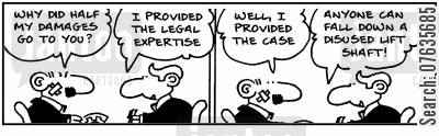 legal expertise cartoon humor: I provided the case, why do half my damages go to you? Anyone can fall down a liftshaft.