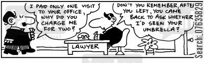legal cost cartoon humor: You charged me for for two visits? Yes you came back for your umbrella.