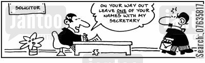 criminal lawyers cartoon humor: Leave one of your names with my secretary.
