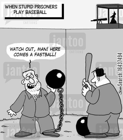 chain gang cartoon humor: When stupid prisoners play Baseball