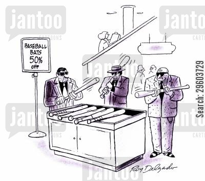 gangster cartoon humor: Baseball bats 50 off.
