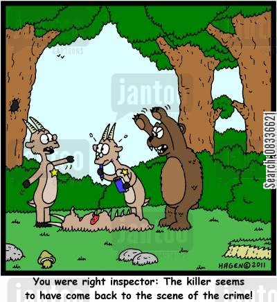 constables cartoon humor: 'You were right inspector: The killer seems to have come back to the scene of the crime!'