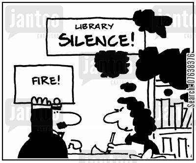 fire engine cartoon humor: 'Library silence. Fire!'