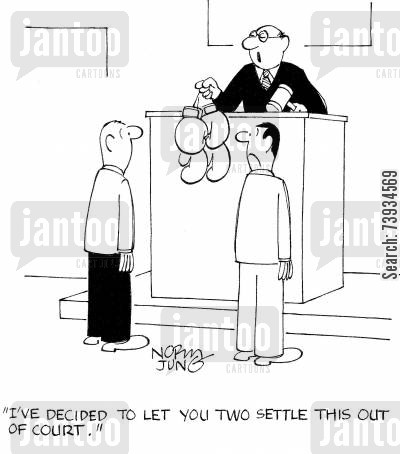 out of court cartoon humor: 'I've decided to let you two settle this out of court.'