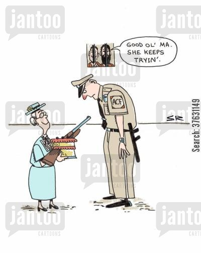 doing time cartoon humor: 'Good ol' Ma. She keep tryin'.'