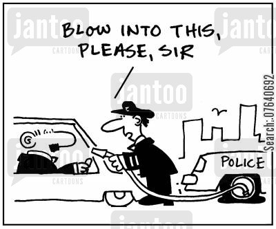 drink driving cartoon humor: 'Blow into this, please sir.'