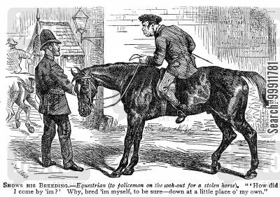 standing cartoon humor: Policeman and horse thief
