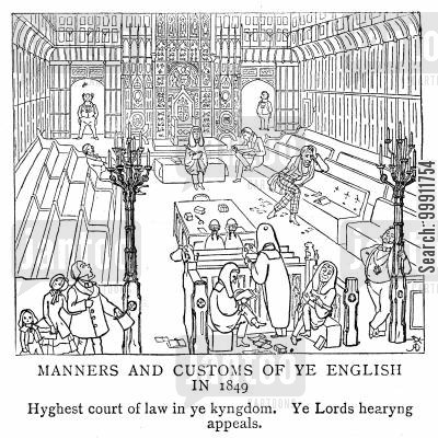 wig and gown cartoon humor: The court of appeal in the House of Lords