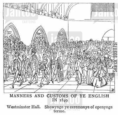britain cartoon humor: The ceremony of opening term at Westminster Hall