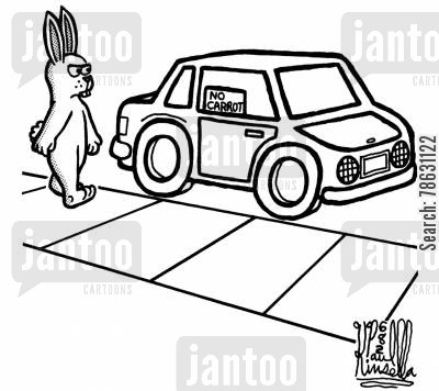 joy rides cartoon humor: No Carrot Sign (like the old 'no radio' signs).