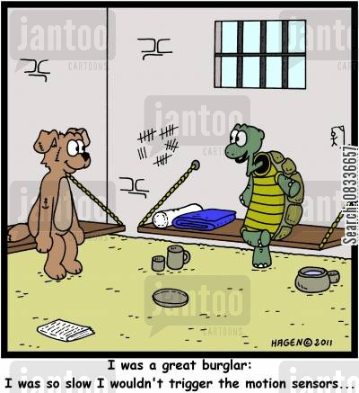 slowness cartoon humor: 'I was a great burglar: I was so slow I wouldn't trigger the motion sensors...'