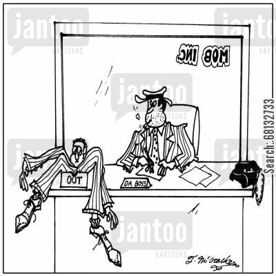 hit men cartoon humor: A mobster with a dead body in his office out box.
