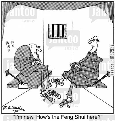 felon cartoon humor: 'I'm new. How's the Feng Shui here?'