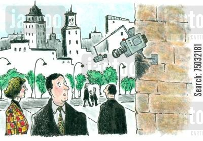 surveillance cameras cartoon humor: A security camera keeps an eye on another security camera.