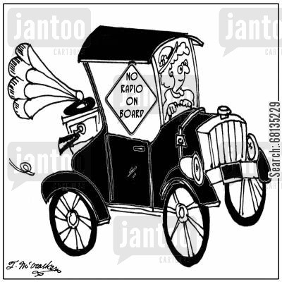 car theft cartoon humor: No Radio On Board