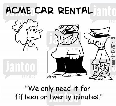 getaway car cartoon humor: 'We only need it for fifteen or twenty minutes.'
