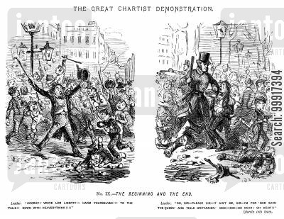 dissent cartoon humor: The Great Chartist Demonstration. No. IX. - The beginning and the end.