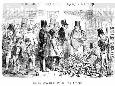 suffrage cartoon humor: The Great Chartist Demonstration. No. III. - Distribution of the Staves.