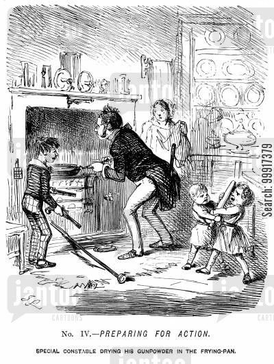 special constable cartoon humor: The Great Chartist Demonstration. No. IV. - Preparing for action.