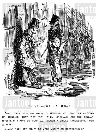 reformer cartoon humor: The Great Chartist Demonstration. No. VII. - Out of Work.