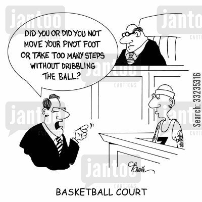 break the rules cartoon humor: Basketball Court.