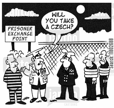 prisoner of war cartoon humor: 'Will you take a Czech?'
