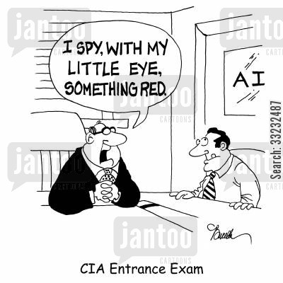 eye spy cartoon humor: CIA Entrance Exam.