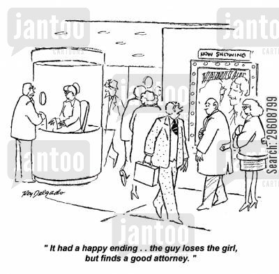 cinema cartoon humor: 'It had a happy ending... the guy loses the girl, but finds a good attorney.'
