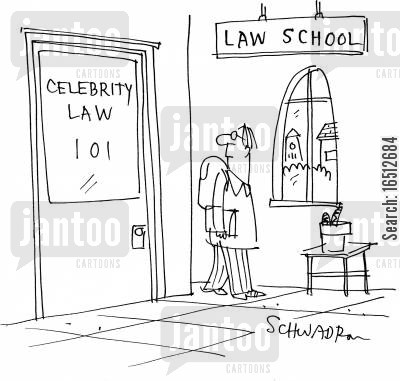 celebrity law cartoon humor: A Law student sees a class entitled Celebrity Law 101