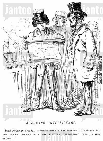 telegraphs cartoon humor: Man discovering that all police offices are to be connected by telegraph