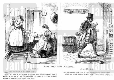 swindler cartoon humor: Conman who told the maid he was an old schoolfriend of the master leaving the house with his belongings