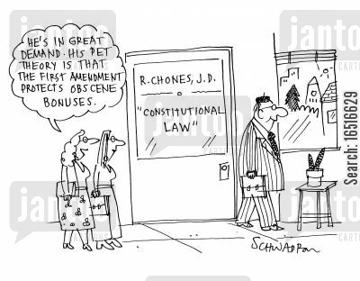 freedom of speech cartoon humor: 'He's in great demand. His pet theory is that the first amendment protects obscene bonuses.'