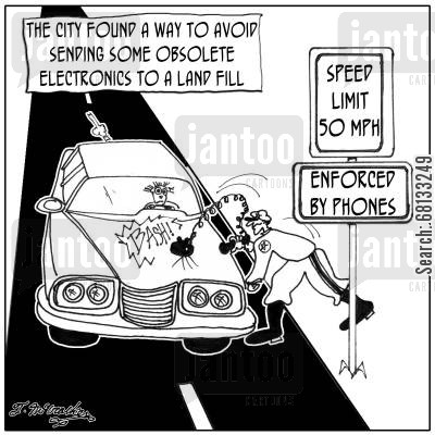 technological cartoon humor: The city found a way to avoid sending some obsolete electronics to a land fill.