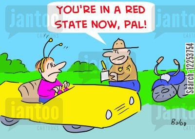 driving fine cartoon humor: 'You're in a red state now, pal!'