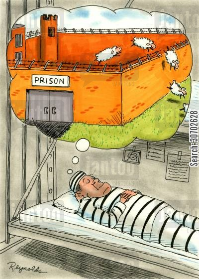 falling asleep cartoon humor: Prison inmate counting sheep.
